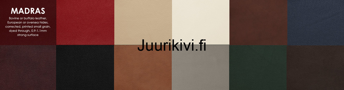 Nahka/keinonahka värimallit vasem. ylh. lähtien: 215 Red, 216 Latte, 217 White, 220 Marrone, 272 Blue, 273 Oxe, 274 Black, 276 Cognac, 278 Light grey, 279 Green, 285 Dark Brown.